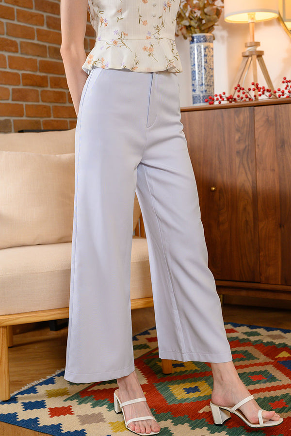 Rei Belted Wide Leg Pants #MadeByDearLyla (Lilac Grey) l Dear Lyla Singapore l Shop Women Fashion A timeless staple, this wide leg, high-waisted pants is ideal for every occasion and is so figure flattering as it lengthens your frame beautifully. Wear it with the detachable belt which will be the statement of your chic outfit or wear it without the belt for a cleaner classy look - there's endless possibilities to wear this pants!  - Detachable belt and functional belt loops