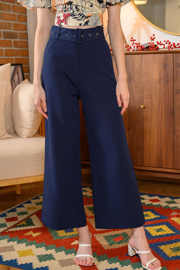 Rei Belted Wide Leg Pants #MadeByDearLyla (Navy) l Dear Lyla Singapore l Shop Women Fashion A timeless staple, this wide leg, high-waisted pants is ideal for every occasion and is so figure flattering as it lengthens your frame beautifully. Wear it with the detachable belt which will be the statement of your chic outfit or wear it without the belt for a cleaner classy look - there's endless possibilities to wear this pants!  - Detachable belt and functional belt loops