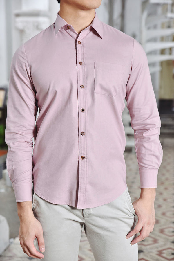 Romeo Pointed Collar Slim Fit Men Shirt (Dusty Pink) | Dear Lyla Singapore | Shop Women Fashion Cut from a lightweight cotton fabric which is very comfy for daily wear. This stylish slim fit shirt is fitted with a chest pocket and button sleeve cuffs which allows you to wear your sleeves down for formal occassions or rolled up for a smart casual look. Finished withmandarin collarand exquisite wooden buttons for an added touch of details. *Get Matchy with your partner, Juliet Sweetheart Button Cotton Dress
