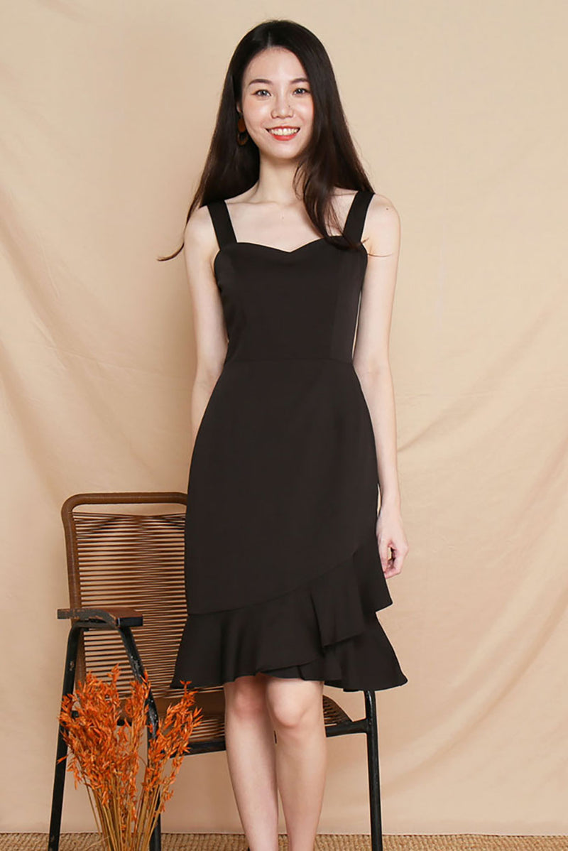 Rose Mermaid Midi Dress (Black) | Dear Lyla Singapore | Shop Women Fashion An elegant mermaid skirt silhouette with flutter hem details, this romantic midi dress is perfect for all occasions - work, dates, parties and many more. The sweetheart neckline accentuates the feminine look of this classy dress.   - Concealed back zip closure - Lined - Made of polyester - Functional side pockets  Available in Black and Wine.  Exclusively manufactured by Dear Lyla.