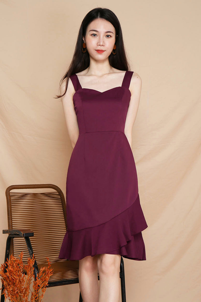 Rose Mermaid Midi Dress (Wine) | Dear Lyla Singapore | Shop Women Fashion An elegant mermaid skirt silhouette with flutter hem details, this romantic midi dress is perfect for all occasions - work, dates, parties and many more. The sweetheart neckline accentuates the feminine look of this classy dress.   - Concealed back zip closure - Lined - Made of polyester - Functional side pockets  Available in Black and Wine.  Exclusively manufactured by Dear Lyla.