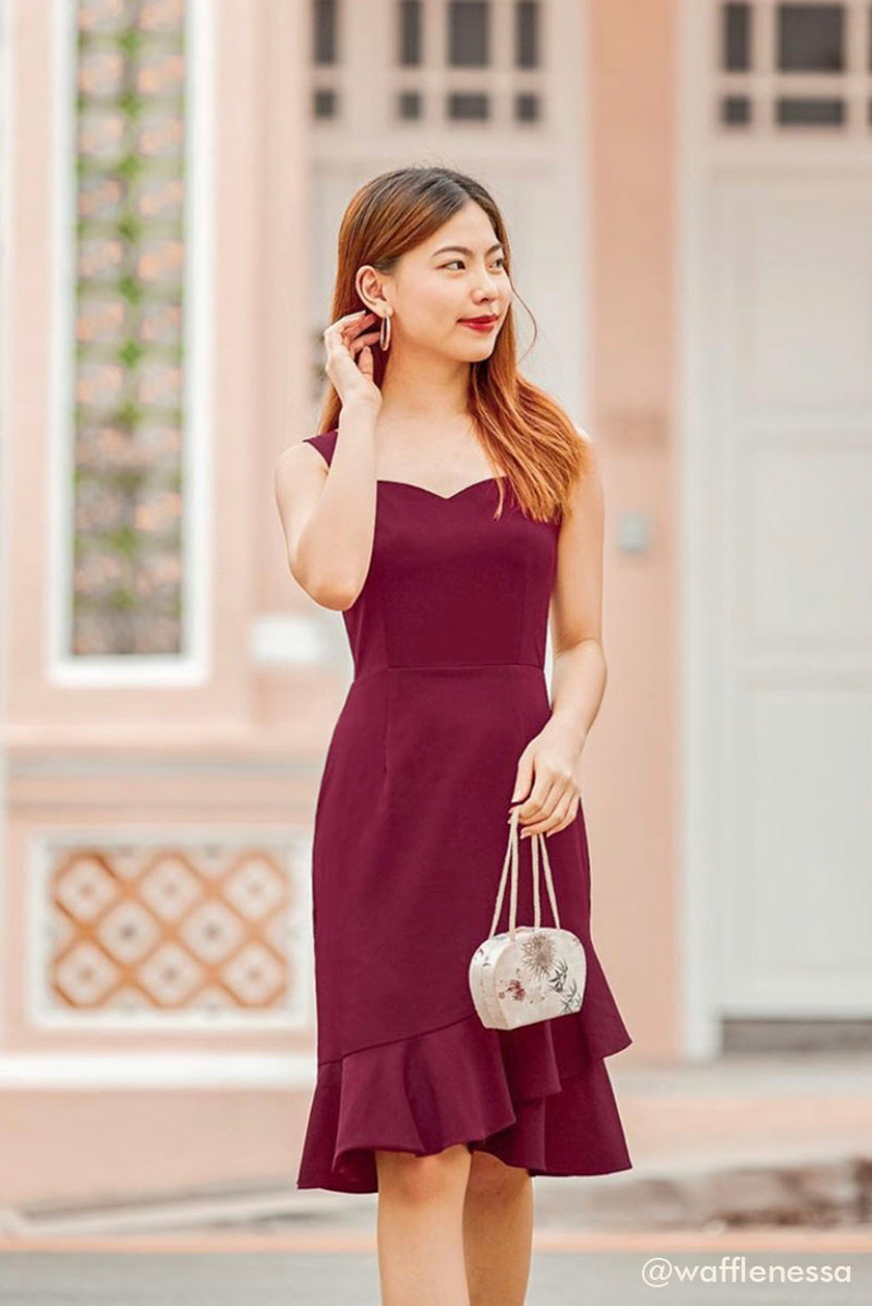 Rose Mermaid Midi Dress (Wine) | Dear Lyla Singapore | Shop Women Fashion An elegant mermaid skirt silhouette with flutter hem details, this romantic midi dress is perfect for all occasions - work, dates, parties and many more. The sweetheart neckline accentuates the feminine look of this classy dress.   - Concealed back zip closure - Lined - Made of polyester - Functional side pockets  Available in Black and Wine.  Exclusively manufactured by Dear Lyla. wafflenessa Vanessa