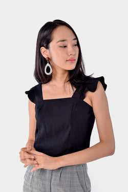 Roselle Flutter Top (Black) l Dear Lyla Singapore l Shop Women Fashion Online Featuring a square neckline with soft ruffled straps to accentuate those collar bones. Worn in a slightly loose fit, this top can be worn tucked in or out for different looks.  - Concealed back zip closure - Lined - Made of polyester  Exclusively manufactured by Dear Lyla.  *Paired with Arinna Checkered Cuffed Pants