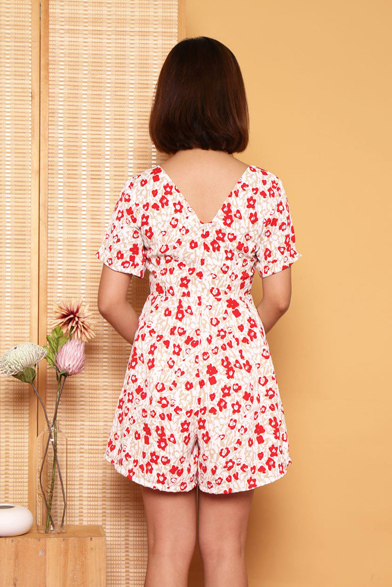 "Orchid Oriental Romper #MadeByDearLyla (Red Floral) | Dear Lyla Singapore | Shop Women Fashion | Free Shipping to Singapore & Malaysia | Designed by DEAR LYLA, made specially for you. | Exclusively manufactured by Dear Lyla | Online Women Clothing Singapore Store Blogshop Top 10 Quality | This oriental romper features traditional knotted button also known as ""Pankou"" which is widely used on Cheongsams.Wear this cute and comfy romper on regular days too, this statement piece will be sure to turn heads."