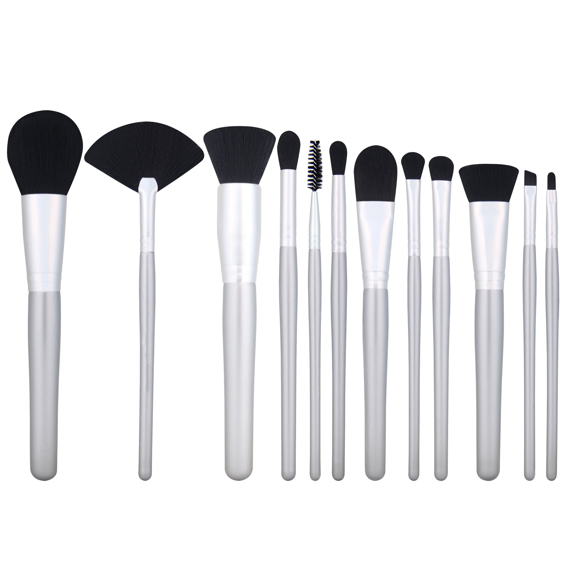 Set 12 Pensule Cosmetic Argintiu Metalic
