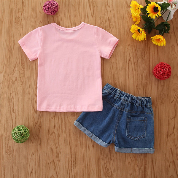 Fete Baby Two Pieces Tricou cu mânecă scurtă roz + pantaloni scurți din denim Set Kids Wear