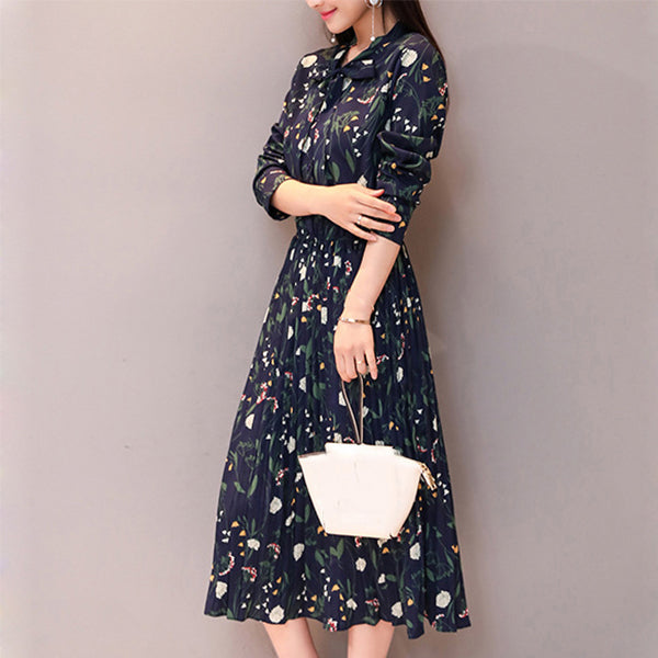 Vintage Literary Printed Long Sleeve Bow Collar Dress