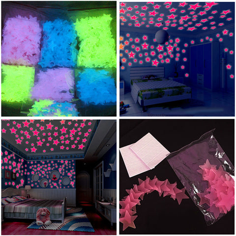 100pcs Wall Stickers Decal Glow In The Dark Baby Kids Bedroom Home Decor Color Stars