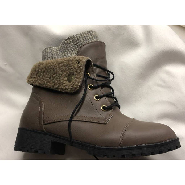 Faux Wool Mouth Cuffed Ankle Boots With Low Heel Cotton Boots