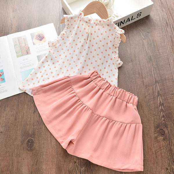 Κορίτσια Two Pieces Dot Sleeveless T-shirt & Lace-up Solid Colour Shorts κοστούμι Παιδικά ρούχα