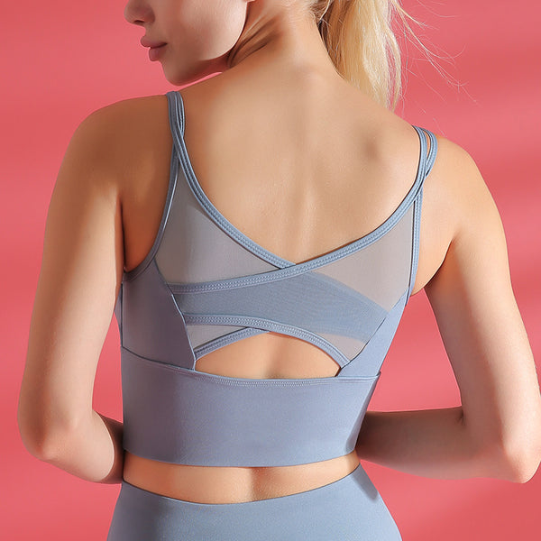 Γυναικείο Fitness Breathable Shockproof Gathering Sports Bra, Yoga Vest