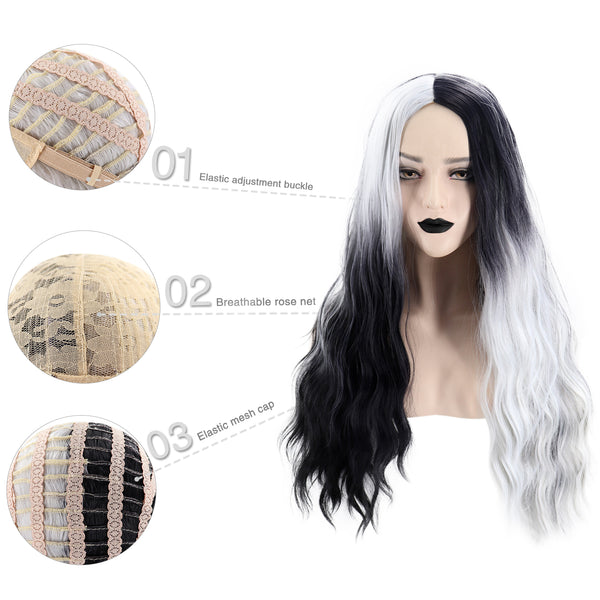 Long Center Parting Chic Wavy Two-Tone Gradient Color Συνθετική περούκα