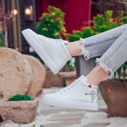 Casual Flat Heel High-top Shose Γυναικεία Lace Up πάνινα παπούτσια Loafers
