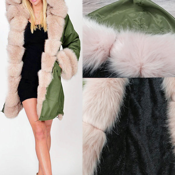 Women Winter Fur Collar Jacket Coat Mid-Length Hooded Coat Army Coat Thin Section Cardigan