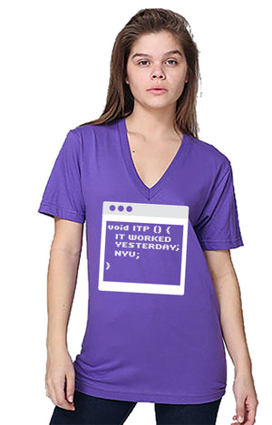 It Worked Yesterday Unisex V-neck - Purple