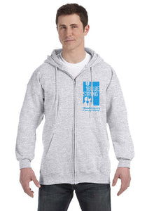 1BlueString Light Grey Zip Hooded Sweatshirt