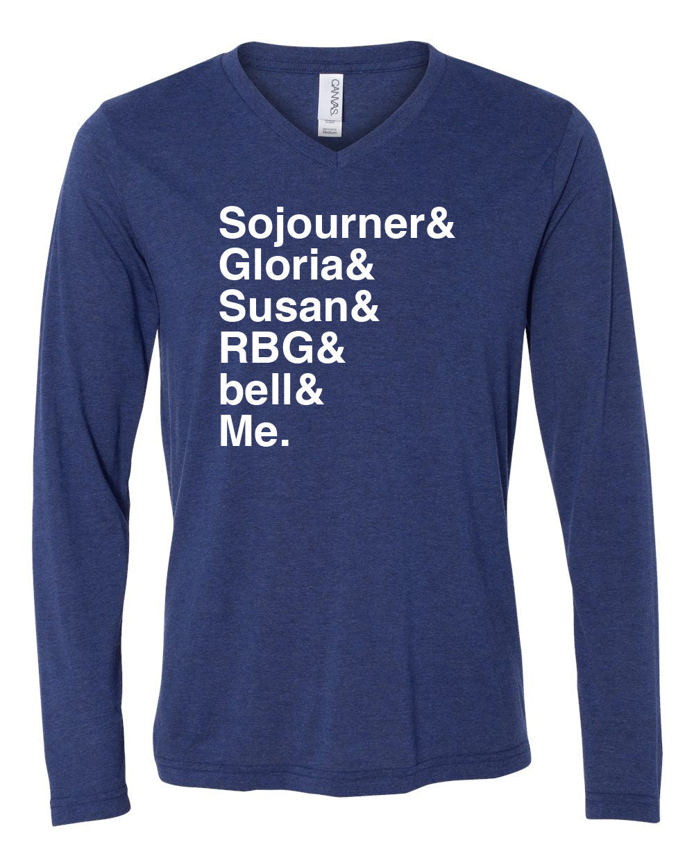 NNEDV Feminists&Me Long-sleeve V-neck Tee – Blue
