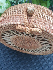Retro Rattan Canteen Crossbody Bag