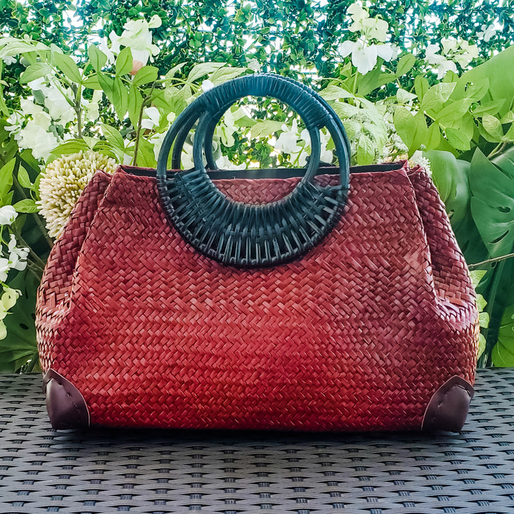 Rattan Handle Woven Straw Bag