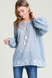 Embroidered Peasant Blouse Free Shipping