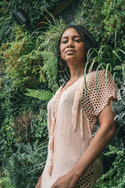 Mesh Detail Fringed Cover Up