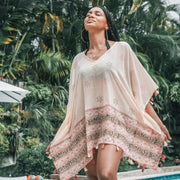 Border Print Poncho Cover Up