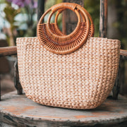 Hand Woven Top Handle Tote
