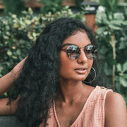 Round Wire Sunglasses Brown