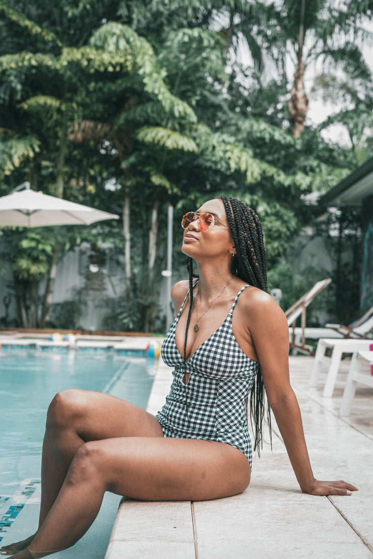 Checkered One Piece Swimsuit