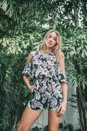 Hawaiian Print Cold Shoulder Romper