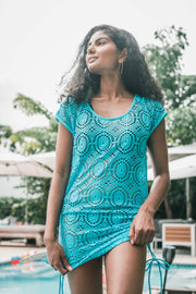 Geo Lace Cover Up Blue