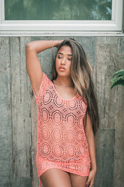 Geo Lace Cover Up Coral
