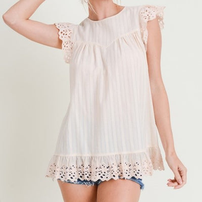Eyelet Sleeveless Top Free Shipping