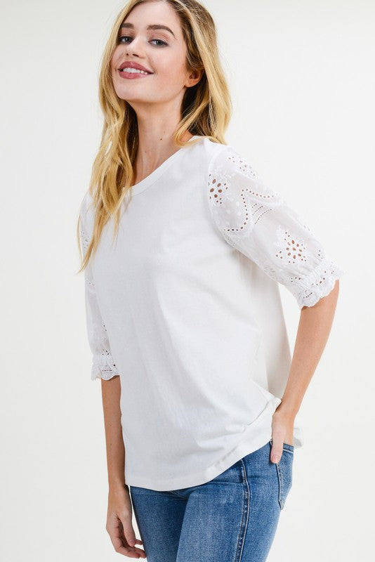 Broderie Anglaise Sleeve Blouse Free Shipping