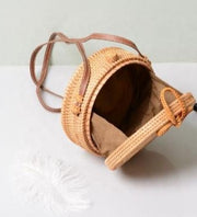 Floral Pattern Rattan Canteen Bag