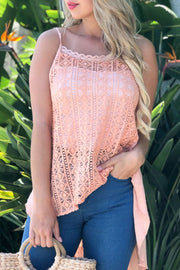 Crochet High Low Shirt Free Shipping