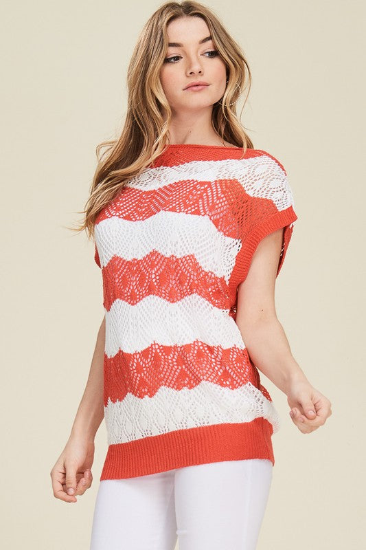 Pointelle Knit Top Free Shipping