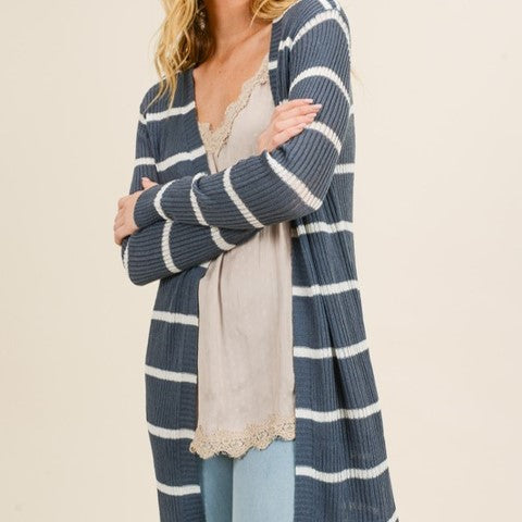 Striped Ribbed Midi Cardigan