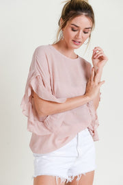 Ruffle Sleeve Top Free Shipping