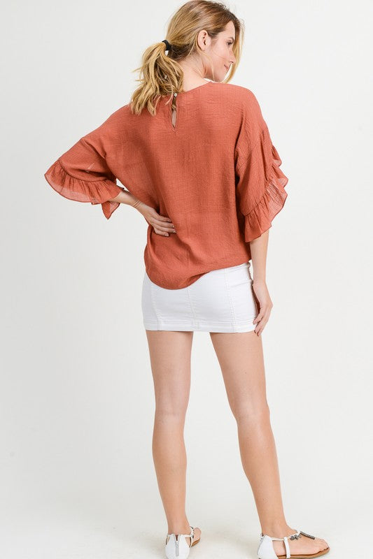 Statement Ruffle Sleeve Top