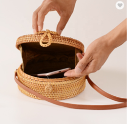 Rattan Canteen Bag with Lattice Cutouts