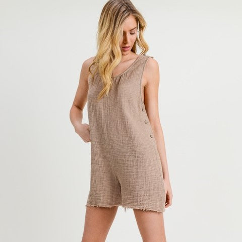 Side Button Romper Free Shipping