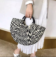 Two Tone Straw Tote Bag