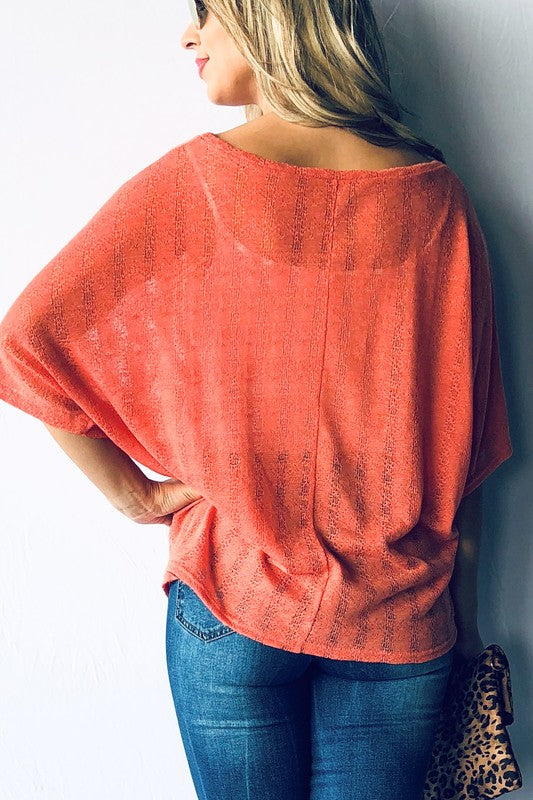 Textured Stripe Poncho Top Free Shipping