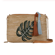 Tropical Embroidered Straw Bag
