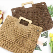 Rectangular Bracelet Handle Straw Tote