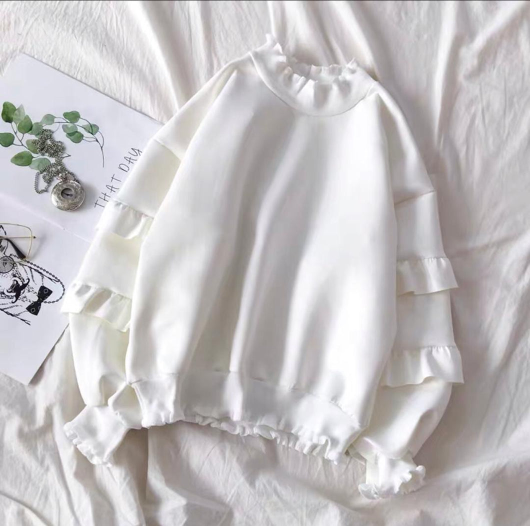 uten White Ruffled Sweater