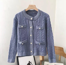 Load image into Gallery viewer, Gloria Blue Ribbed Knitted Cardigan