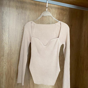 Limo Beige Ribbed Top