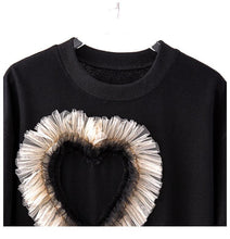 Load image into Gallery viewer, Tulle Heart Black Tee Top
